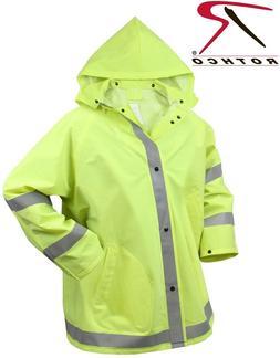 Safety Rain Jacket Reflective Green Hi-Vis Raincoat Rain Coa