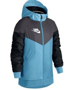 Nike Size S Boys Black Blue Full Zip Hooded Rain Sportswear