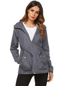 ZHENWEI Spring Jacket for Women Waterproof Warm with Hood Pl