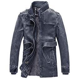 UOFOCO Fashion Thermal Leather Jacket Men's Casual Pocket Bu