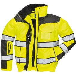 Portwest UC466 HiVis Reflective Bomber Rain Jacket with Wate