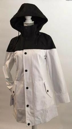 UGG WOMEN'S TRENCH RAIN JACKET BLACK AND WHITE WATERPROOF
