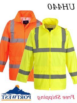 Portwest UH440 Hi-Vis Hooded Rain Jacket Yellow or Orange S-