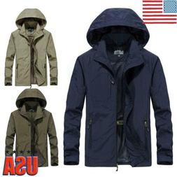 US Mens Zip Waterproof Hooded Jacket Hiking Coat Rain Outdoo