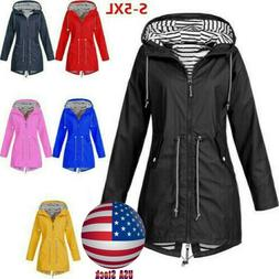 US Plus Size Women Long Sleeve Hooded Wind Jacket Lady Outdo