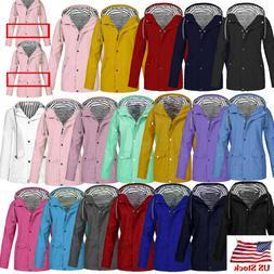 US Women Men Solid Rain Jacket Outdoor Plus Waterproof Hoode