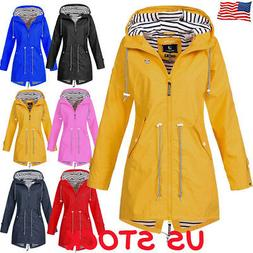 US Womens Long Sleeve Hooded Wind Jacket Outdoor Waterproof