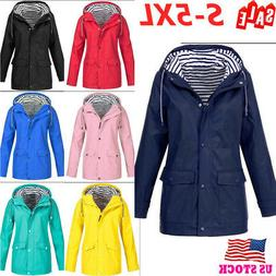 US Womens Rain Waterproof Jacket Ladies Hooded Coats Raincoa