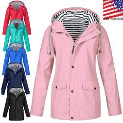 USA Women Long Sleeve Zip Up Waterproof Wind Jacket Winter R