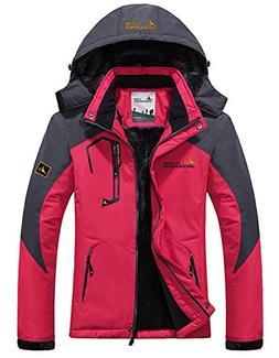 Women's Warm Waterproof Ski Jacket, Fleece Lined Detachable