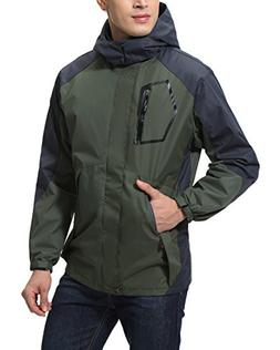 Aibrou Waterproof Jacket Raincoat Men Sportswear Outdoor Hoo