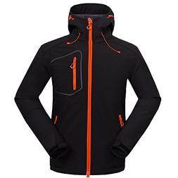 Lanbaosi Men's Waterproof Soft Shell Jacket Outdoor Hooded C