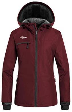 Wantdo Women's Waterproof Warm Snow Jacket Hooded Fleece Lin