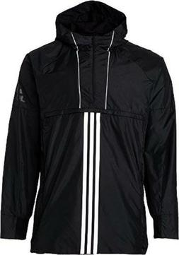 adidas Men's Windbreaker Black Jacket Rain Coat Hooded - CZ5