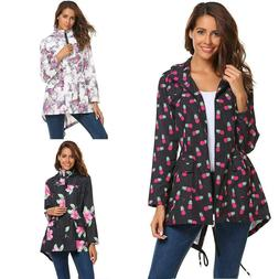 Women Hooded Long Sleeve Floral Lightweight Rain Jacket Rain