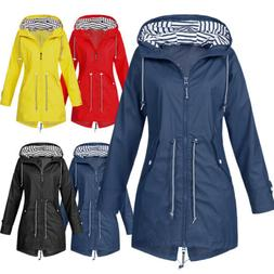 women ladies raincoat wind waterproof jacket hooded