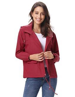 Abollria Women Lightweight Waterproof Raincoat Windbreaker R