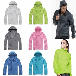 Women Men Lightweight Rain Coat Hooded Jogger Hiking Waterpr