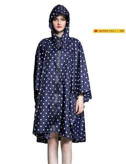 Sogetsuyo Women Packable Rain Jacket Poncho Plus Size Hooded
