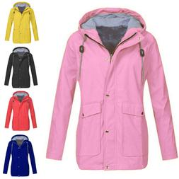 Women Rain Jacket Outdoor Plus Size Outwear Waterproof Hoode