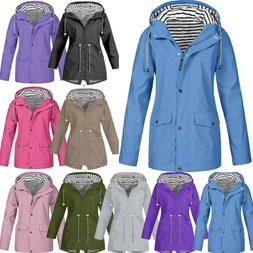 Women Rain Jacket Outdoor Plus Size Waterproof Hooded Windpr