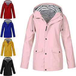 Women Rain Jacket Outdoor Plus Size Waterproof Hooded Rainco