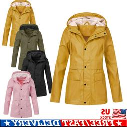 Women Rain Jacket OutdoorWaterproof Hooded Raincoat Windproo