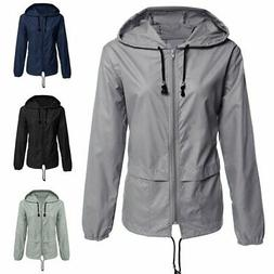 Women Raincoat Windproof Waterproof Jacket Windbreaker Hoode