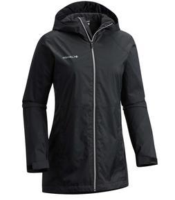 Columbia Women's Black Switchback Lined Long Rain Jacket Siz