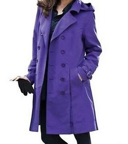 Women's fall winter Water- Resistant Rain trench coat hood j