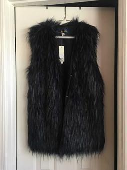 Women's Faux Fur Sleeveless Vest Waist Coat Jacket Size Smal