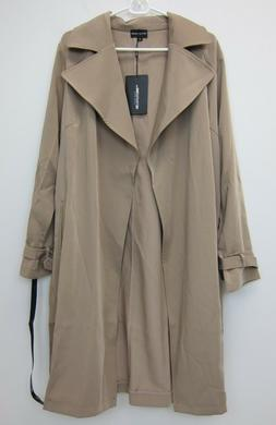 Pretty Little Thing Women's Kiki Mac Rain Jacket US 8 Camel