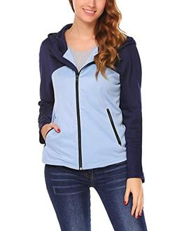 Zeagoo Women¡¯s Lightweight, Full Zip Running Track Jacket