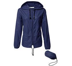 Hount Women's Lightweight Hooded Raincoat Waterproof Packabl