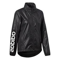 adidas Women's Linear Windbreaker Jacket, Black, Small