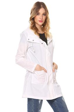 SoTeer Women's Long Rain Jacket Lightweight Waterproof Hoode