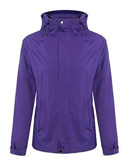 ELESOL Women's Long Sleeve Zip Up Hoodie Waterproof Rain Jac