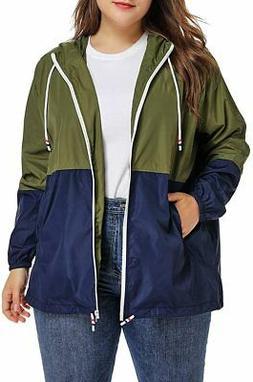 SALICO Women's Plus Size Raincoat Rain Jacket Waterproof Coa