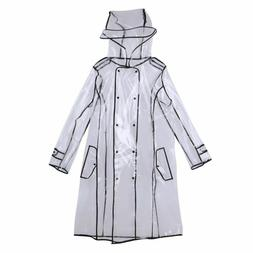 Women's Transparent Hooded Raincoat with Belt Long Rain Wear