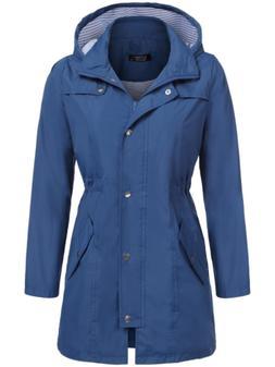 SoTeer Women's Waterproof Lightweight Rain Jacket Anorak wit