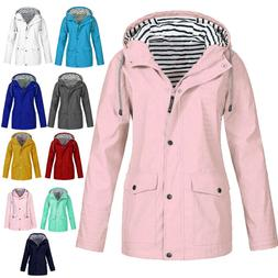 Women's Waterproof Rain Jacket Outdoor Coats Plus Size Zip H