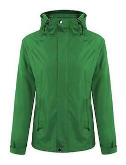 ELESOL Women's Waterproof Raincoat Outdoor Hooded Rain Jacke