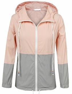 SoTeer Women's Waterproof Raincoat Outdoor Hooded Rain Jacke