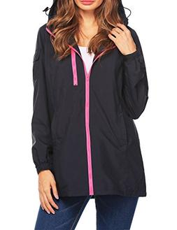 Beyove Women's Waterproof Raincoat Outdoor Hooded Rain Jacke