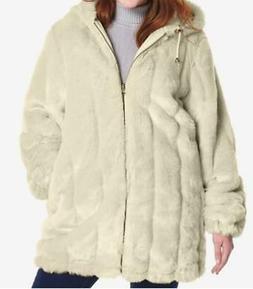 Women's Winter reversible Faux Fur hooded coat rain jacket p