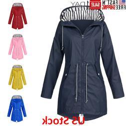 Women Solid Rain Jacket Jackets Waterproof Hooded Raincoat P