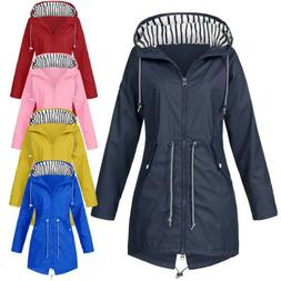 Women Solid Rain Jacket Outdoor Jackets Waterproof Hooded Ra