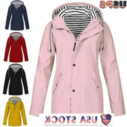 Women Solid Rain Jacket Outdoor Plus Size Waterproof Hooded