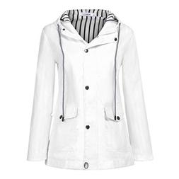 Women Solid Rain Jacket,Ladies Outdoor Plus Waterproof Windp