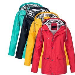 Women Utility Waterproof Raincoat Windproof Rain Jacket Hood